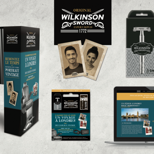 Agence communication Rangoon - promotion des ventes shopper marketing theatralisation ventes animées marketing experientiel Wilkinson Vintage rasage