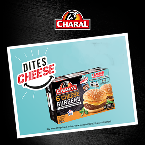 "Agence communication Rangoon - promotion des ventes jeu instants gagnants site Internet Charal Burger ""dites cheese"""