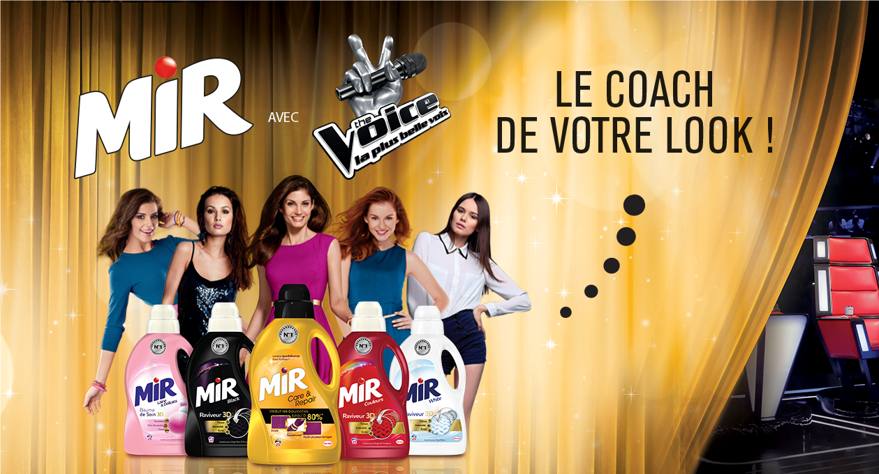 Agence communication Rangoon - promotion des ventes shopper licencing 360 The Voice Henkel Mir Lessives