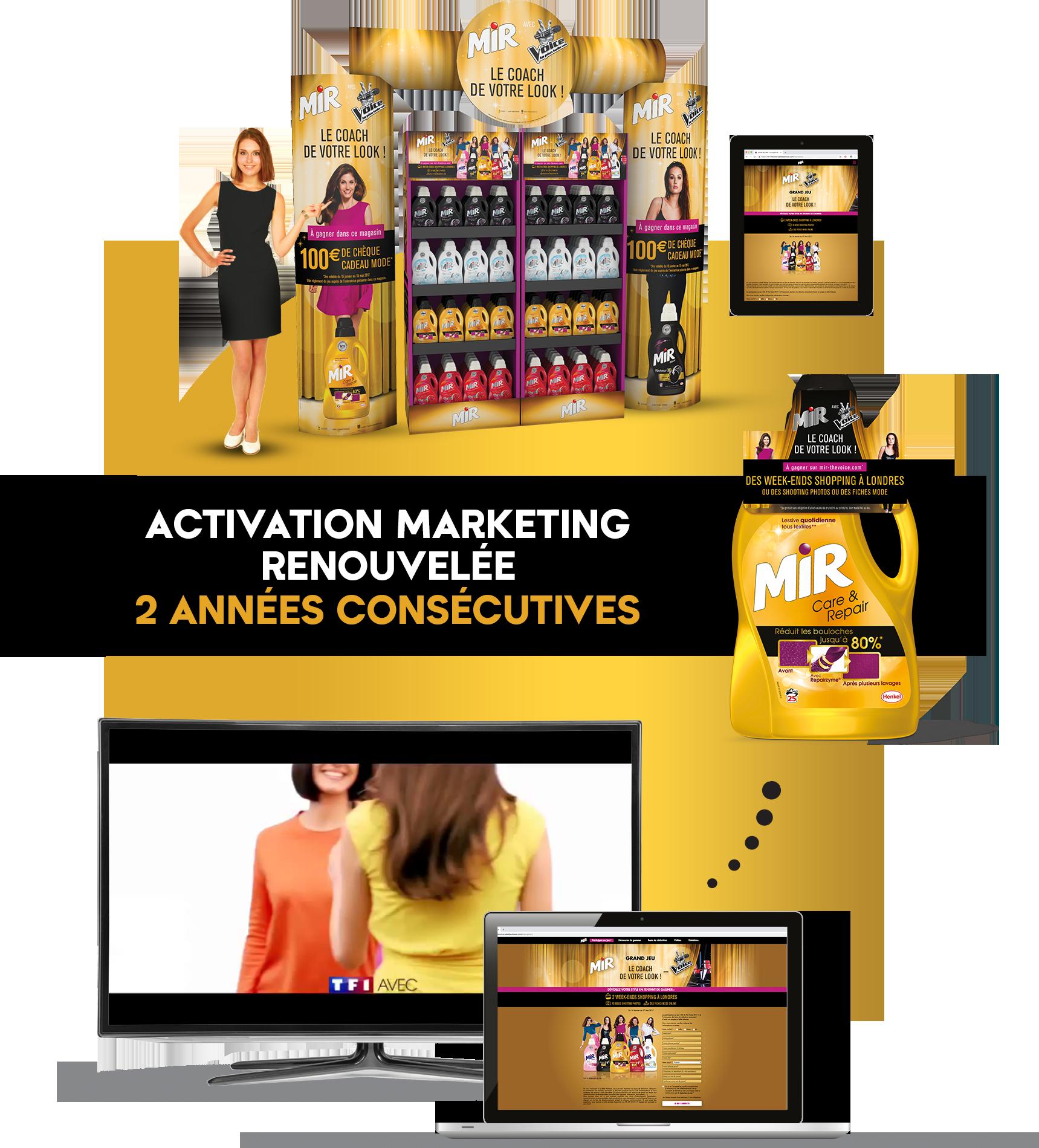Agence communication Rangoon - promotion des ventes shopper licencing 360 The Voice Henkel Mir Lessives