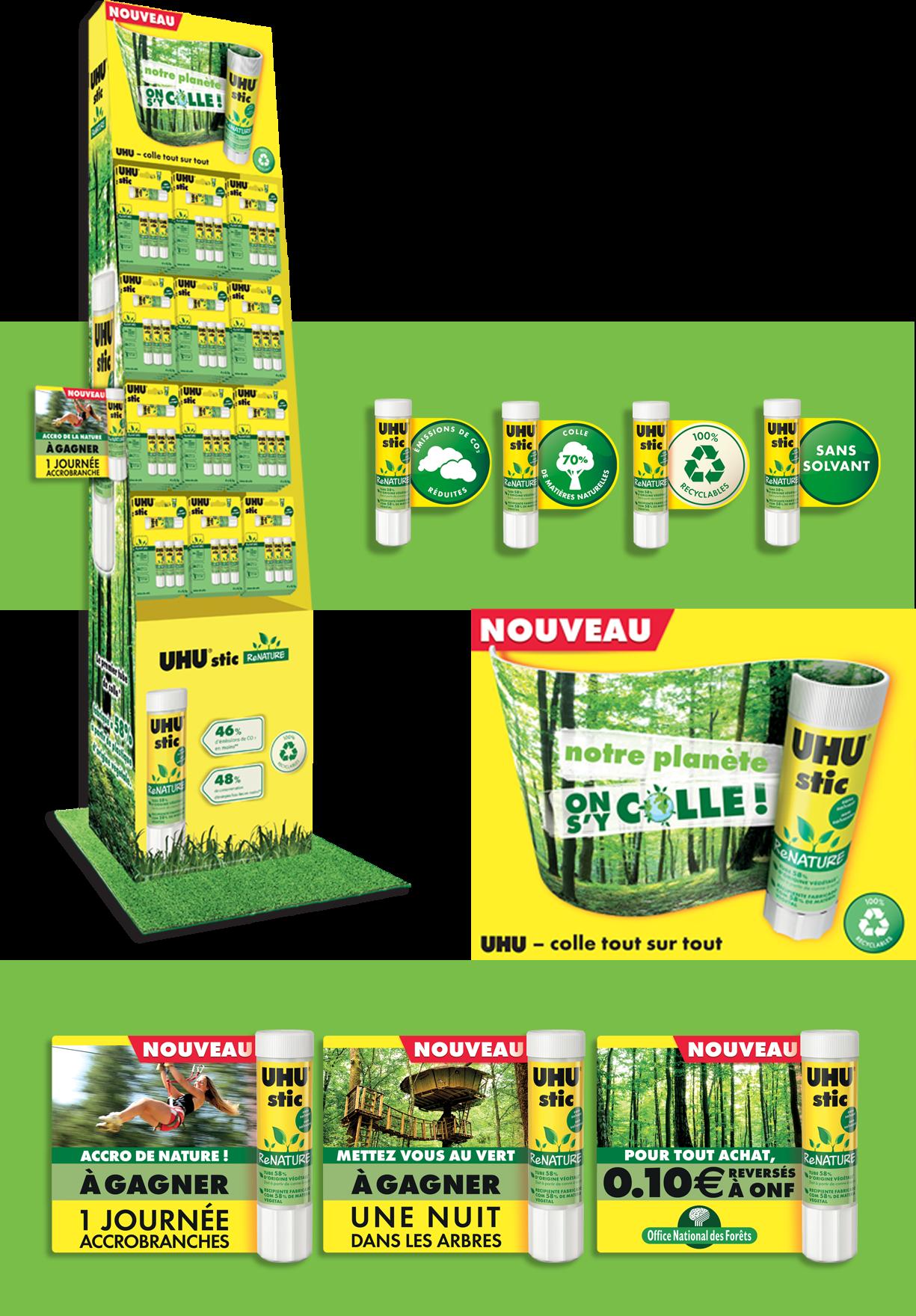 Agence communication Rangoon - shopper marketing identite visuelle colle UHU engagement eco responsable